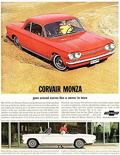 1963 Chevrolet Corvair Monza Promotional Advertising Poster