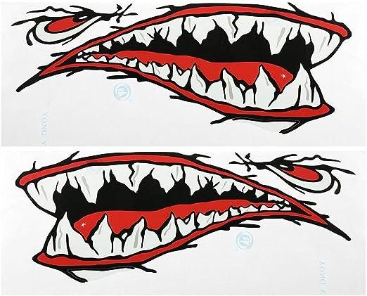LNNUKc 2 Piezas Impermeables Dientes de tiburón Boca Pegatinas ...