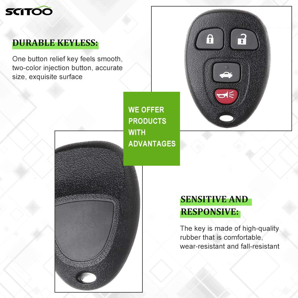 SCITOO 2PCS New Replacement Keyless Entry Remote Key Fob Case Shell Transmitter fit Chevy Suburban 1500 2500 OUC60270