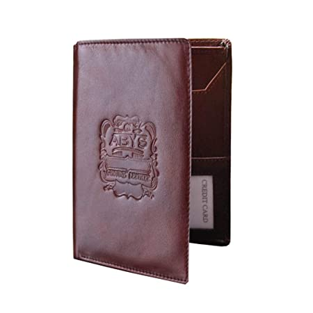 ABYS Genuine Leather Business Card Holder||Passport Wallet||Money Clip||Passport Holder||Passport Cover||Travel Wallet for Men & Women (Coffee Brown)