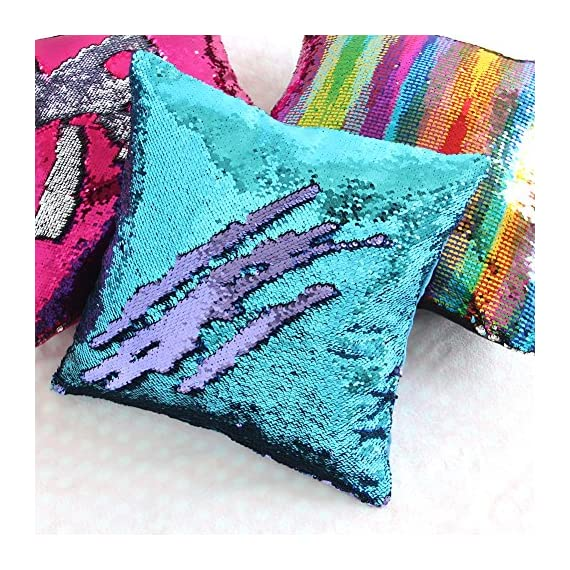 Basumee Sequin Pillow with Insert, 16x16 in Magic Reversible Sequins Cushion for Home Décor (Aqua and Light Purple) -  - living-room-soft-furnishings, living-room, decorative-pillows - 614MA%2Bz688L. SS570  -