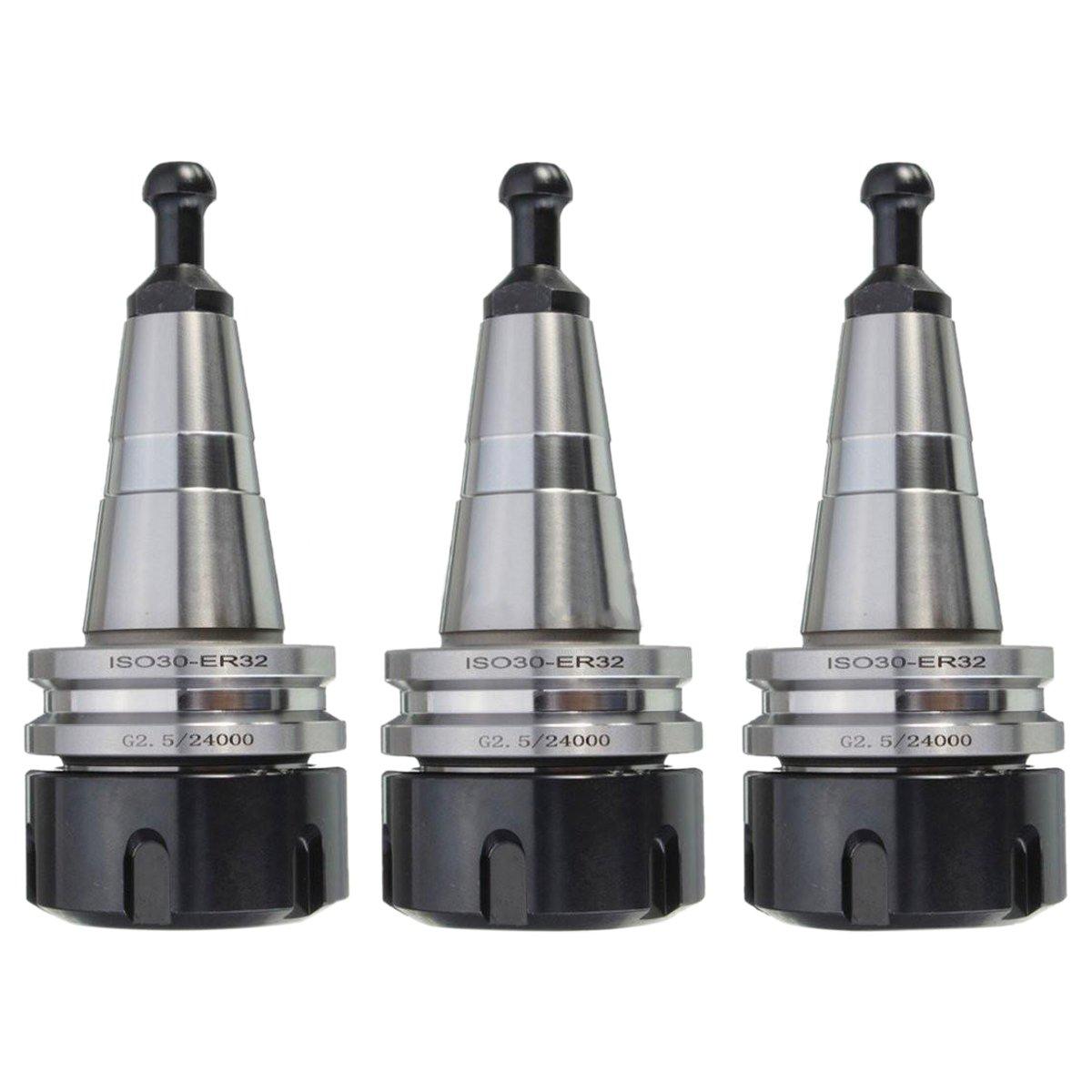 SODIAL 3PCS metal ISO30 ER32 50 Balance Collet Chuck G2.5 24000rpm CNC Toolholder