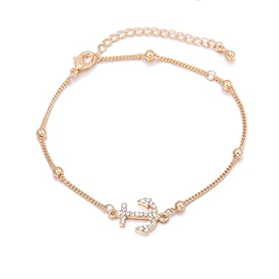 Silver Crystal Rhinestone Beaded Anklet Ankle Bracelet Chain Adjustable Uk Reliable Performance Fashion Jewelry Jewelry & Watches