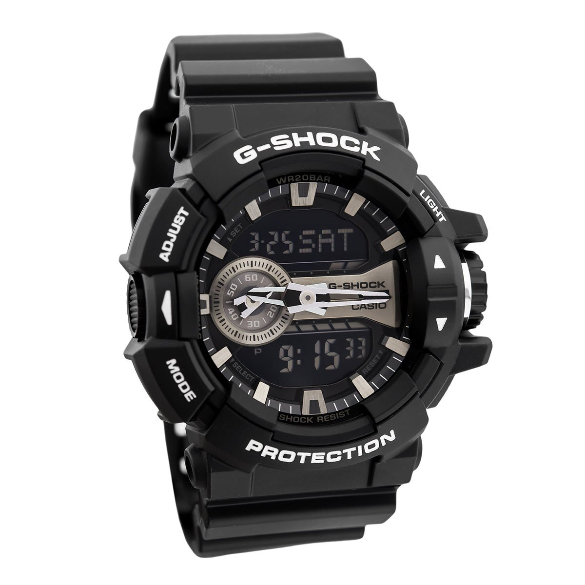 Casio G-Shock Black and Silver-Tone Dial Resin Quartz Men's Watch GA400GB-1A by Casio
