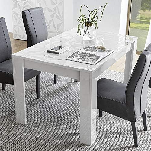 Mesa de comedor extensible, color blanco lacado, diseño Paolo ...