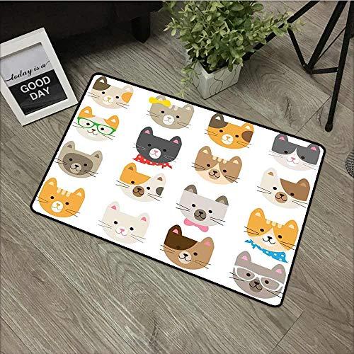 Fakgod Bath mat Animals Cats Costume with Glasses and Bow Tie Bandana Cartoon Artwork Craft Pattern Print Customize Door mats for Home Mat 24