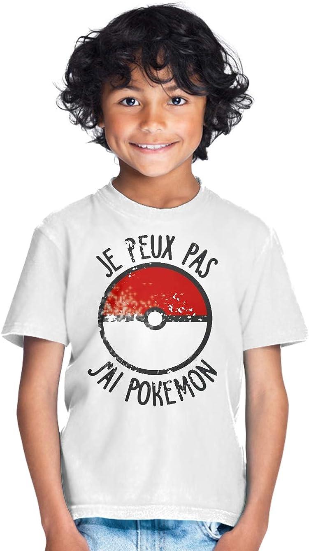 Cadeau Tee Shirt Enfant Gamer Pokeball RPG Tshirt Je Peux Pas Je Dois chasser Un Pokemon