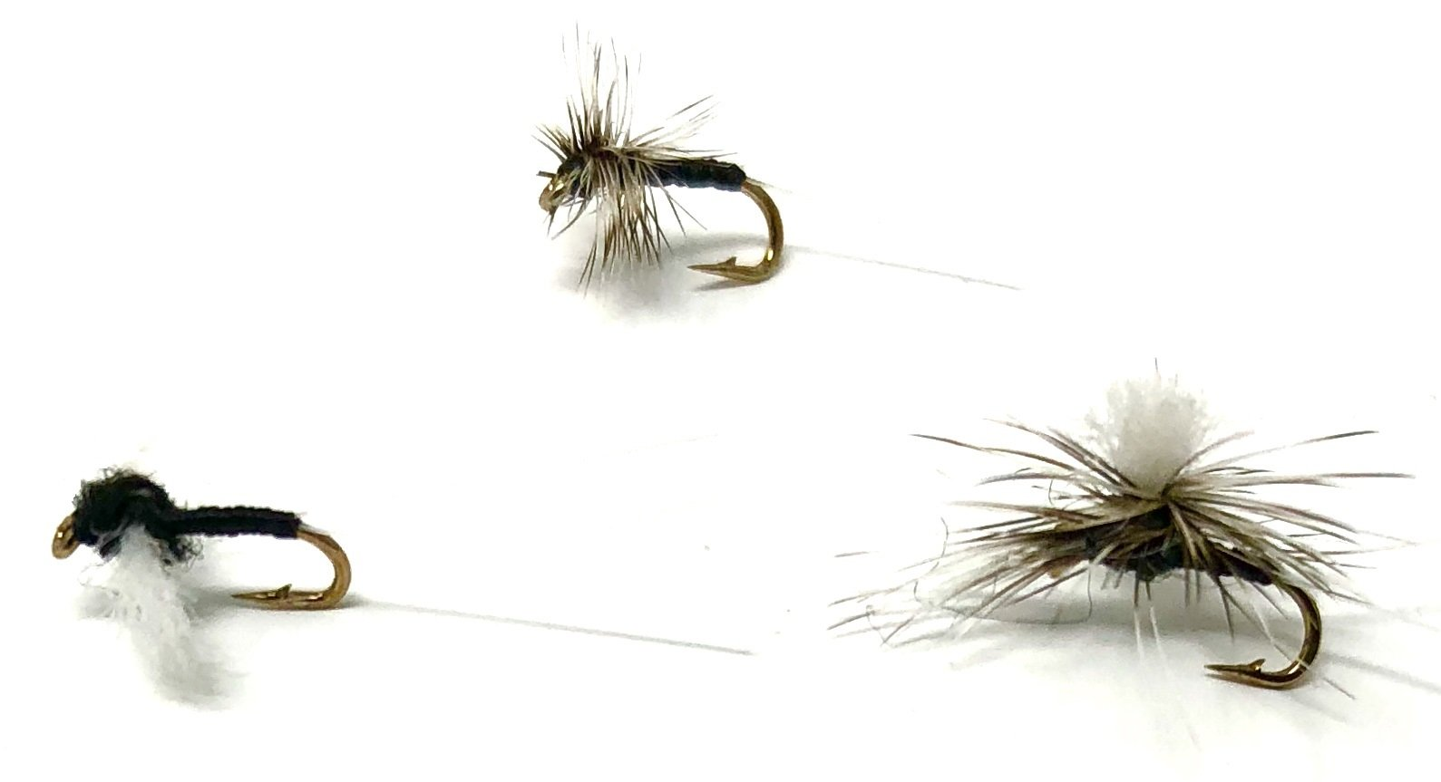 Fly Fishing Assortment TRICO Flies for Trout and Other Freshwater Fish (TRICO, PARACHUTE, AND SPINNER) - 18 Hand Tied Sizes 20, 22, 24 (2 of Each Size and Pattern)