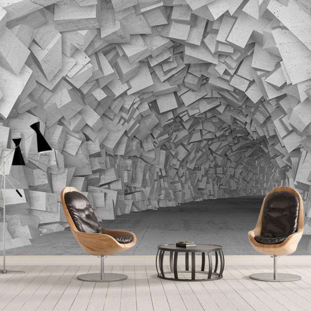 Papel Pintado 3D Tridimensional Moderno Bloque De Cemento T/únel Cueva Decoraci/ón De La Pared Papel Pintado Mural,150Cmx105Cm