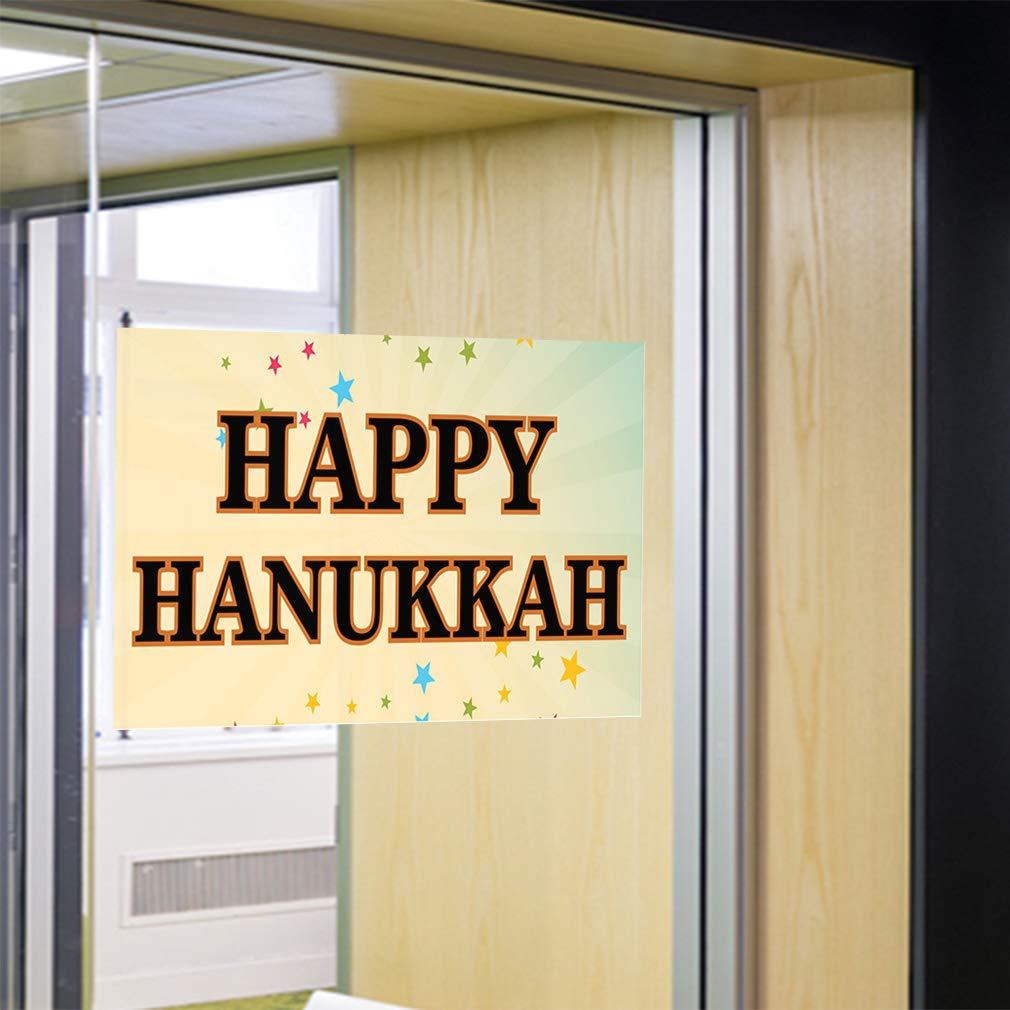 One Sticker 69inx46in Decal Sticker Multiple Sizes Happy Hanukkah #2 Lifestyle Stars Outdoor Store Sign Black