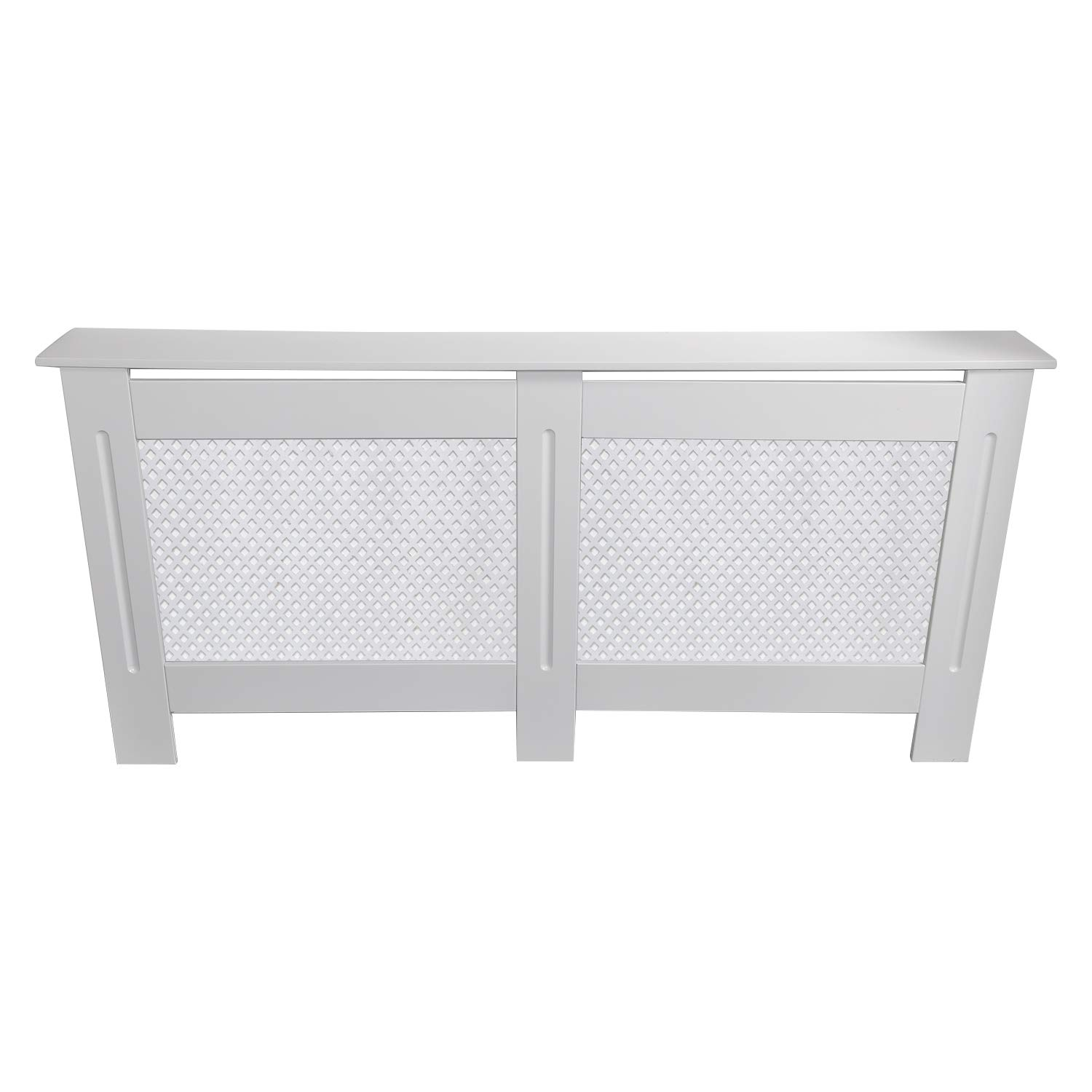 BPS Radiator Cover White Traditional Painted MDF Cabinet, Diamond Grill Style - Large 1520x815x190mm