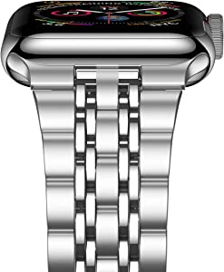 iiteeology Compatible with Apple Watch Band SE/Series 6/5/4 44mm Series 3/2/1 42mm, Upgraded Version Stainless Steel Link Bracelet iWatch Band for Men (7-Rows Silver)