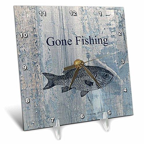 3dRose dc_123416_1 Gone Fishing White Wash Wood Look Beach Theme Art Desk Clock, 6 by 6-Inch