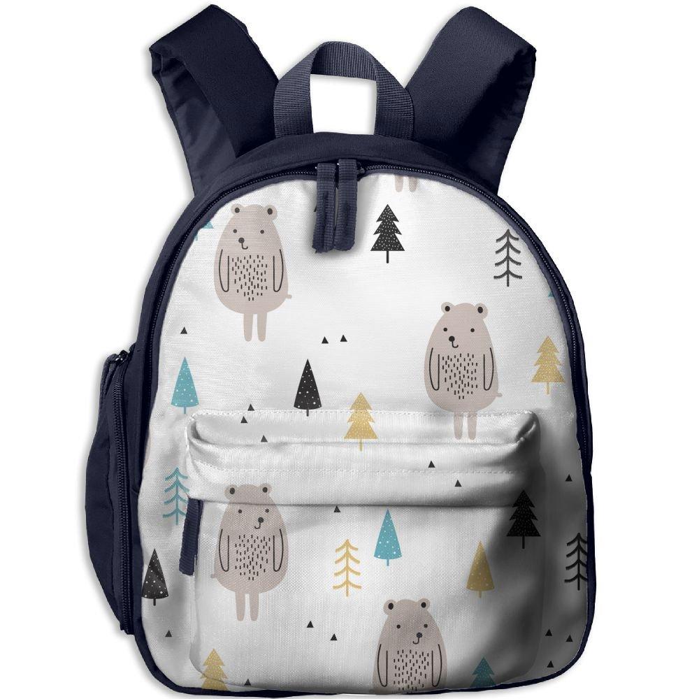 sunmoonet Smallバックパック, Cute Bear TreesグレーホワイトPreスクールバックパックfor Kids Children One Size ブルー cya29ae-32408577-Navy-29 One Size ネイビー B07BXDYMXS