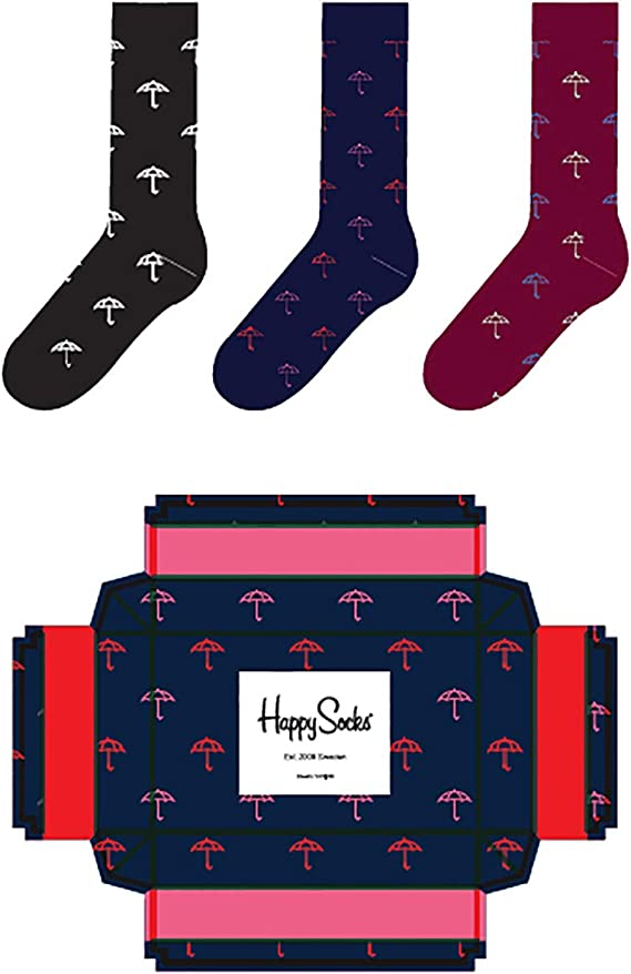 Happy Socks - Caja de regalo de paraguas Umbrela SXUMB08-6500 41/46 Hombre 3 Pares Multicolor: Amazon.es: Ropa y accesorios