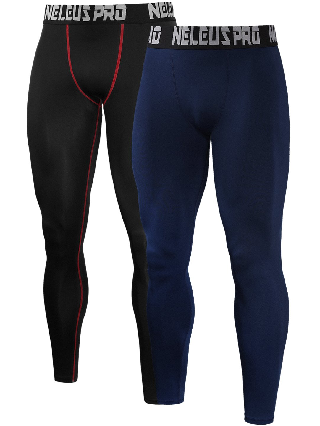 Neleus Men's 2 Pack Compression Tights Sport Running Leggings Pants DK6013-2