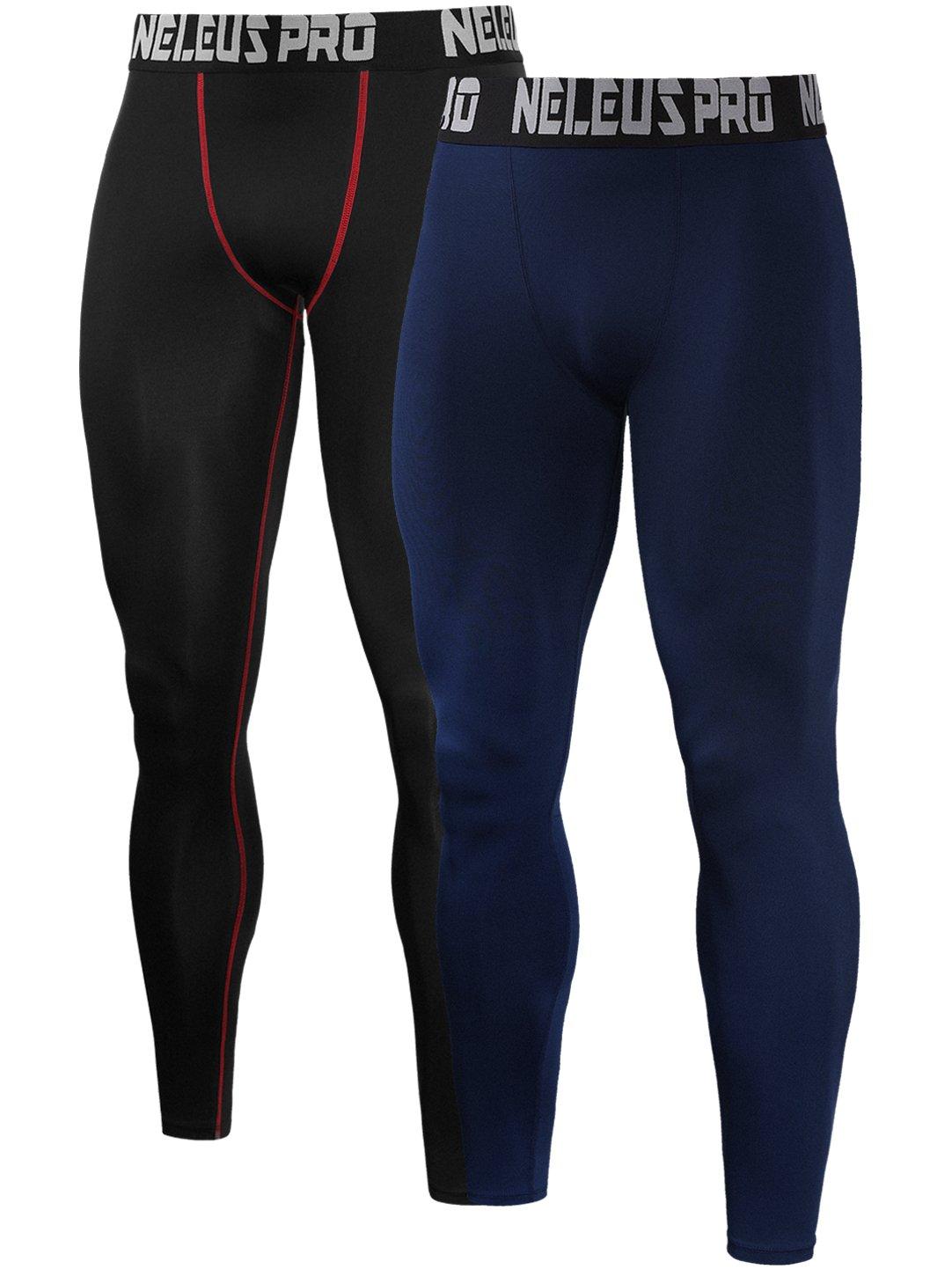 Neleus Men's 2 Pack Compression Tights Sport Running Leggings Pants,6019,Black(Red Stripe),Navy Blue,US S,EU M