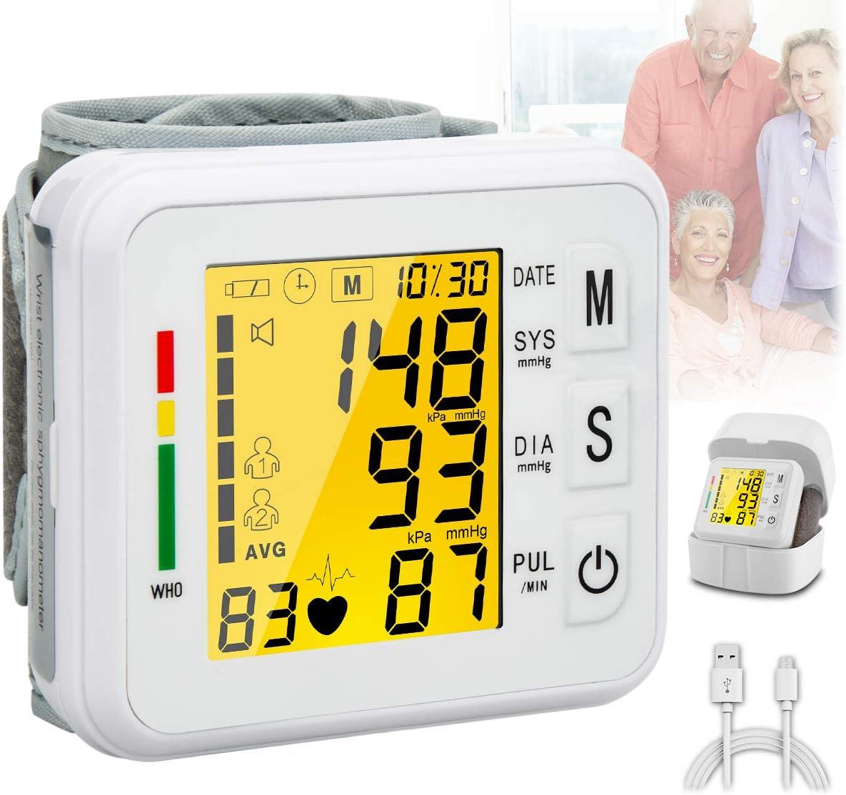 Blood Pressure Monitor,Digital BP Cuff Wrist Blood Pressure Cuff Monitor Automatic Large Backlight Display Rechargeable Wrist Blood Pressure Monitor Pulse Rate Monitoring Meter BP Machine for Home Use