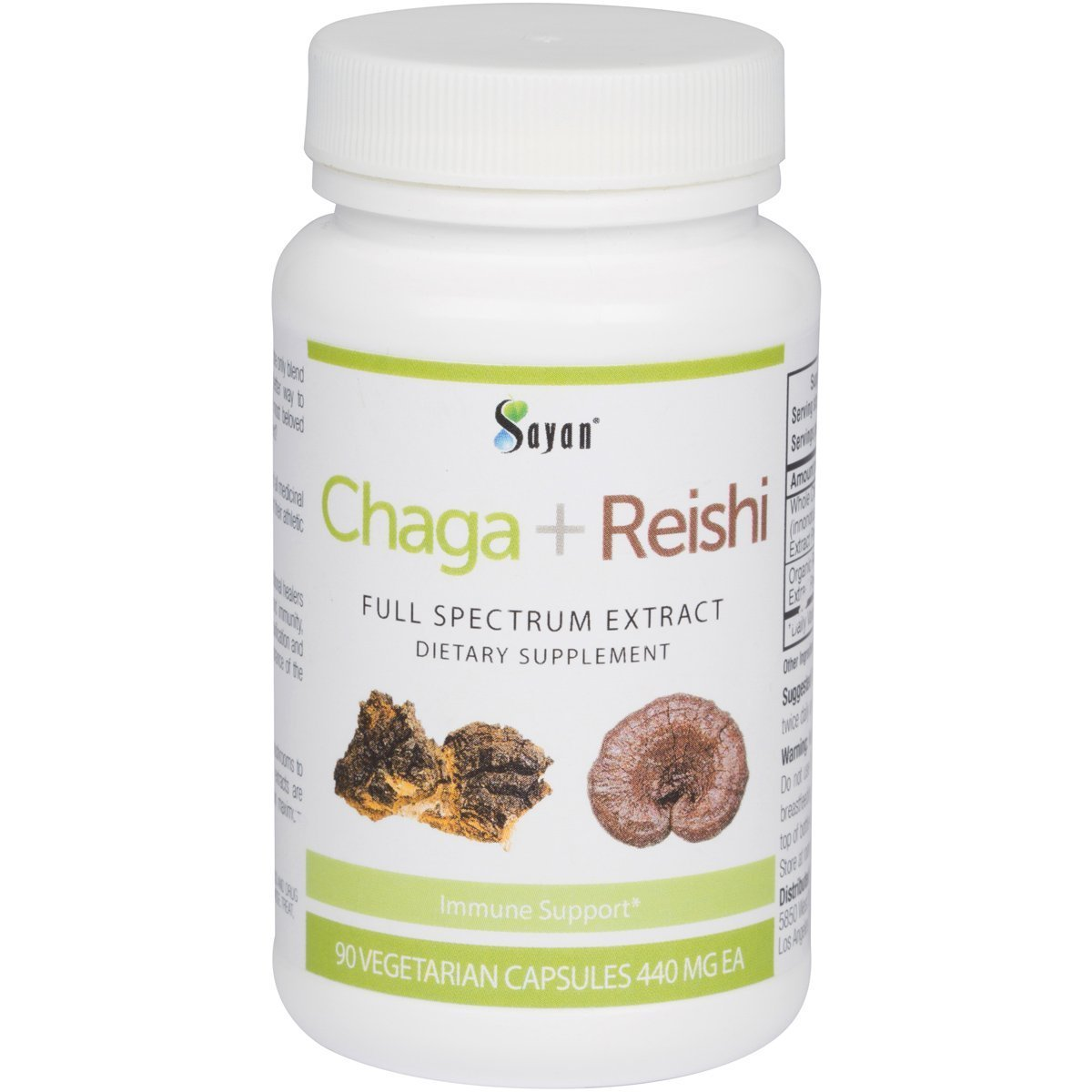 Sayan Siberian Chaga and Organic Reishi Extract Supplement 440mg - Wild-Harvested, Unique Mushroom Blend for Immune System Support + Natural Energy Boost, Non-GMO, Gluten Free, 90 Vegetarian Capsules