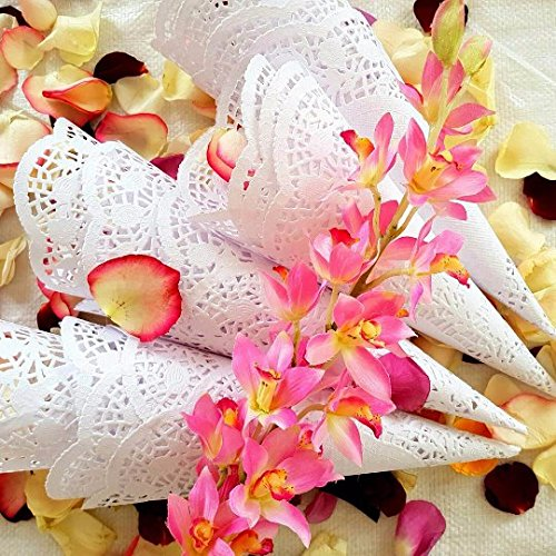 Wedding petal Cones Already rolled cones for petals, Paper wedding flower petal Cones,paper cones for wedding flowers (100)]()