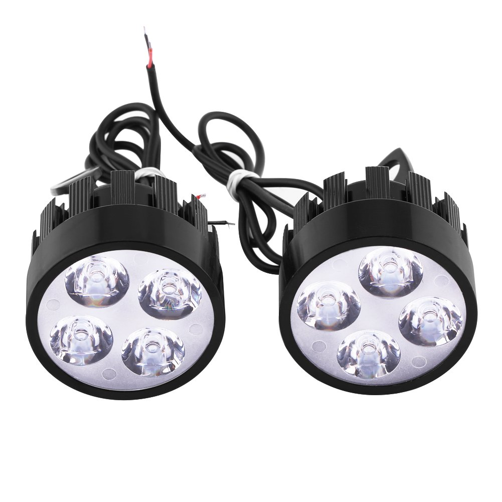 Qiilu 1 Paio Universale LED Faro Faretti Anteriore Headlight Luce per Moto