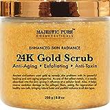 Majestic Pure 24K Gold Scrub, Body & Facial Scrub, Ancient Anti Aging Face and Body Scrub Formula Helps Bringing Youthful Radiance - 8.8 Oz