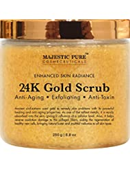 Majestic Pure 24K Gold Scrub, Body & Facial Scrub for Men and Women, Ancient Anti Aging Face and Body Scrub Formula Helps Bringing Youthful Radiance - 8.8 Oz