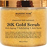 Majestic Pure 24K Gold Scrub, Body & Facial Scrub, Ancient Anti Aging Face and Body Scrub Formula Helps Bringing Youthful Radiance - 8.8 Oz