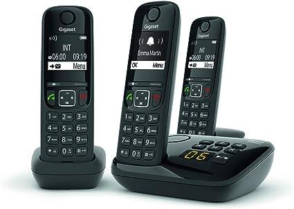 gigaset as690a trio telephone fixe sans fil avec repondeur 3 combines noir