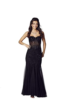Tiffanys Illusion Prom Black Tiffany Eliza Sweetheart Strapless Prom Dress: Amazon.co.uk: Clothing
