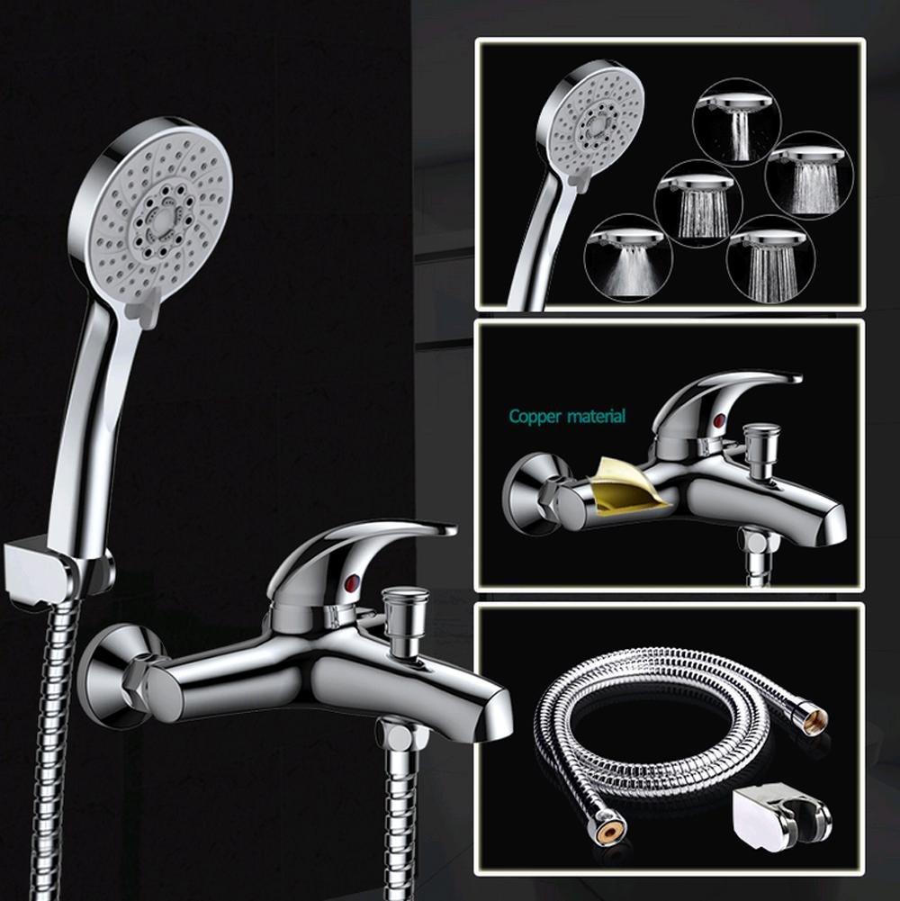 AllureFeng Fünf Hochdruck Sparfunktion ABS Chrom Handbrause Dusche Badewanne Wasserhahn Mixer M-A3018-1D