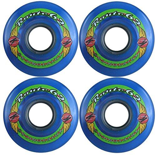 KRYPTONICS Route 62MM 78A Blue Longboard Cruiser Skateboard Wheels (62mm Skateboard Wheels)