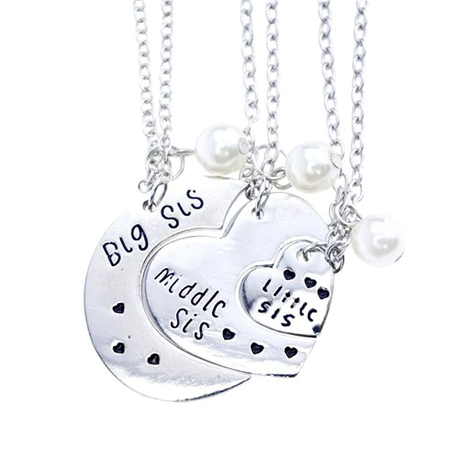 little sis BlingYou®Big Sis Middle Sis Little Sis Jewellery Necklace Set 3 Pieces?Best  Friend Necklaces Sister Jewellery,Bff Necklace Little Girls Kids Friendship  ...