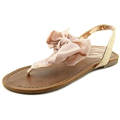 Material Girl Womens Swan Split Toe Casual TStrap Sandals Blush Size 7.5