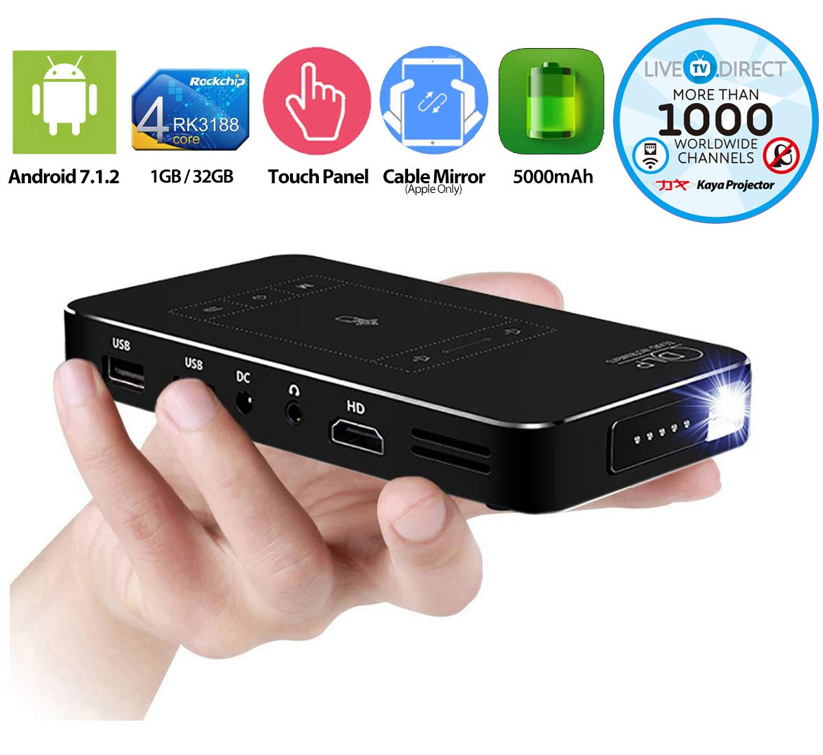Amazon.com: Mini Projector, LiveTV.Direct M8T Portable Projector ...