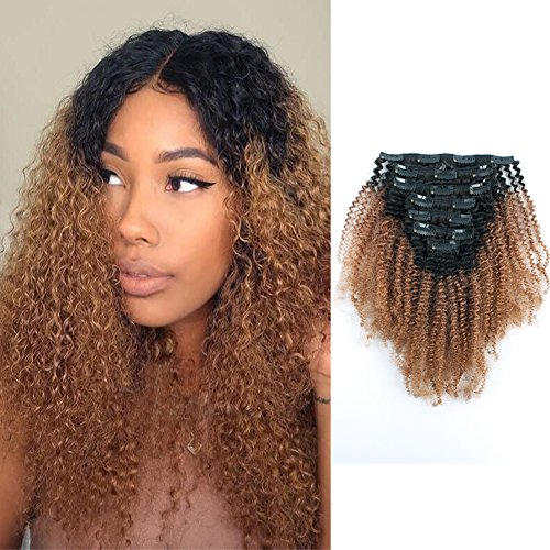 Beauty : Sassina Virgin Brazilian Human Hair Afro Curly Clip In Extensions Real Thick Ombre Color Natural Black Fading to Ginger 120 Grams 7 Pieces Per Bundle With 17 Clips AC TN30 16 Inch