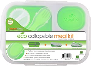 Smart Planet EC-34 Large 3-Compartment Eco Silicone Collapsible Meak Kit Lunch Box, Green