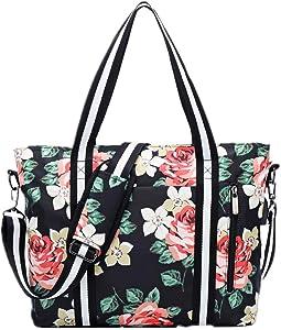 Travel Laptop Tote Bag with USB Charging Port Womens Business Messenger Handbags Computer Shoulder Bag Fits 15.6 Inch Black Rose