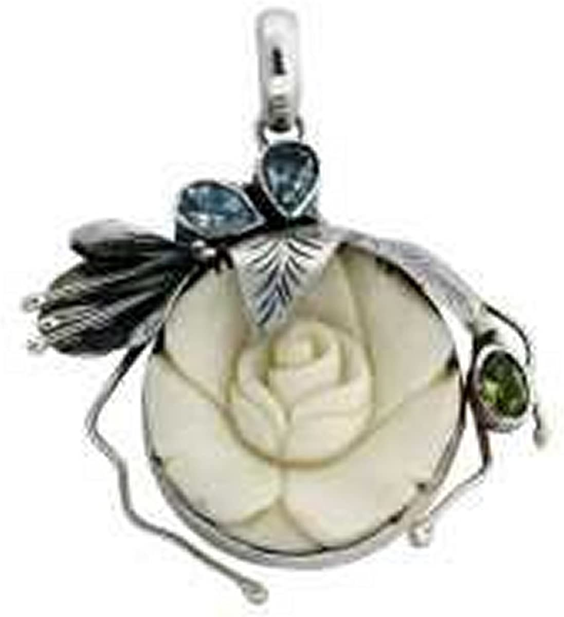 Amazon Com Sterling Silver Bone Hand Carved Rose Pendant With Blue Topaz And Peridot Gem Accent Pendant Necklaces Jewelry