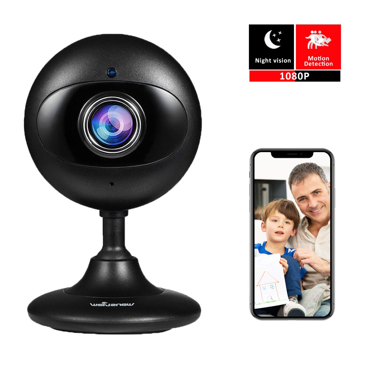 Wansview New Version Home Security IP Camera,1080P Wireless WiFi Indoor Camera for Baby/Elder/Pet/Nanny with Motion Detection and Two-Way Audio, with SD Card Slot (Black) by Wansview