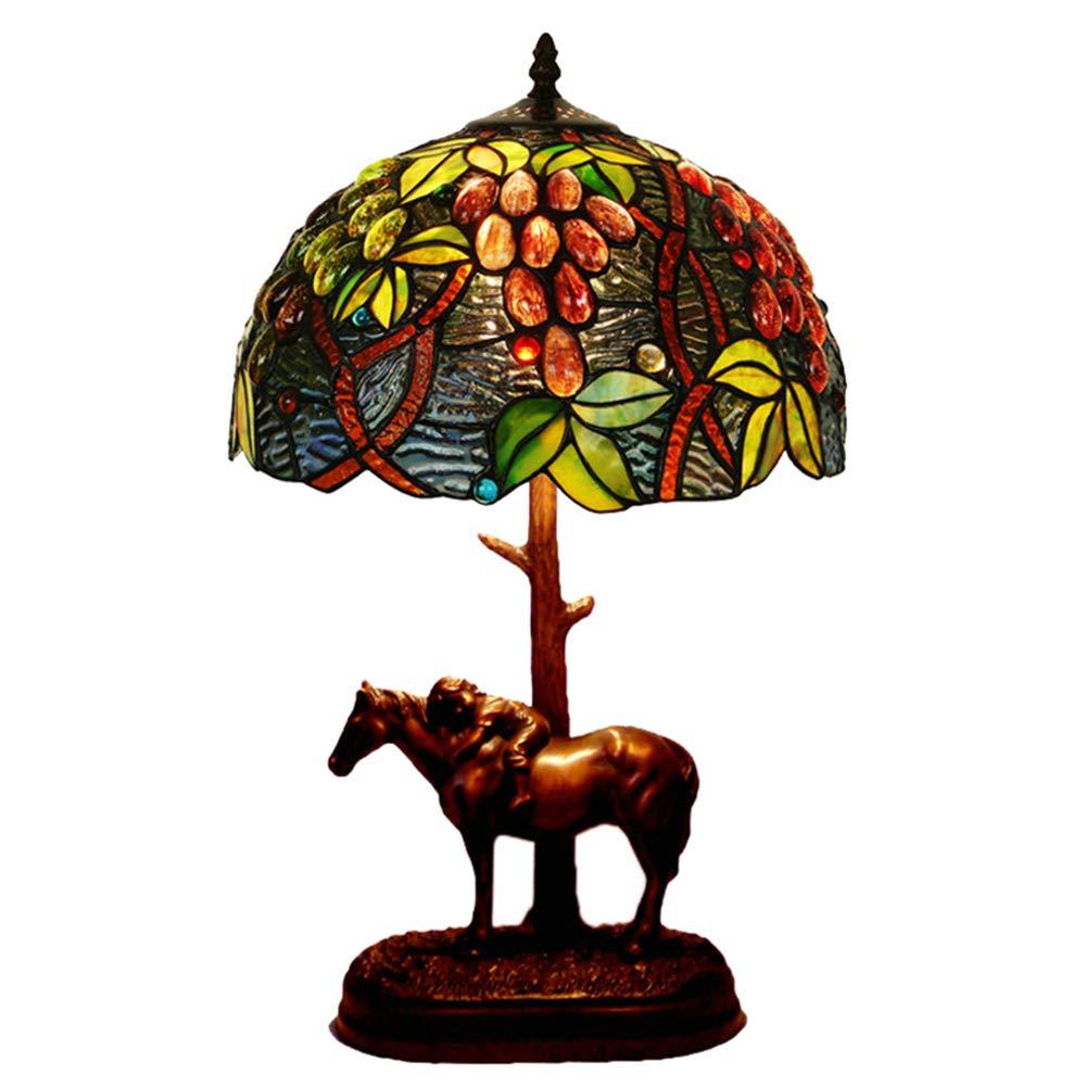 HBWJSH Glas Harz Pony Pony Pony Schlafzimmer Nachttischlampe facea5