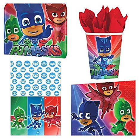 PJ Masks Deluxe Birthday Party Supplies Bundle Pack for 16 Guests