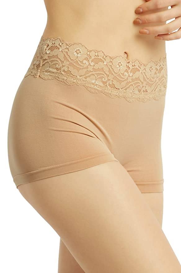 029e56dd307 Sofra Women s High Rise Seamless Boyshorts with Lace Waistband (Beige) at  Amazon Women s Clothing store