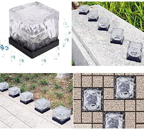 Solar In Ground Light Outdoor, Youqian Recharagable Glowing Ice Cube Rocks Waterproof Solar Underground Light Green Pack of 3