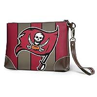 Ta-mpa Bay Bu-ccane-ers Fashionable leather clutch, portable handbag, briefcase, soft leather wrist strap clutch with zipper