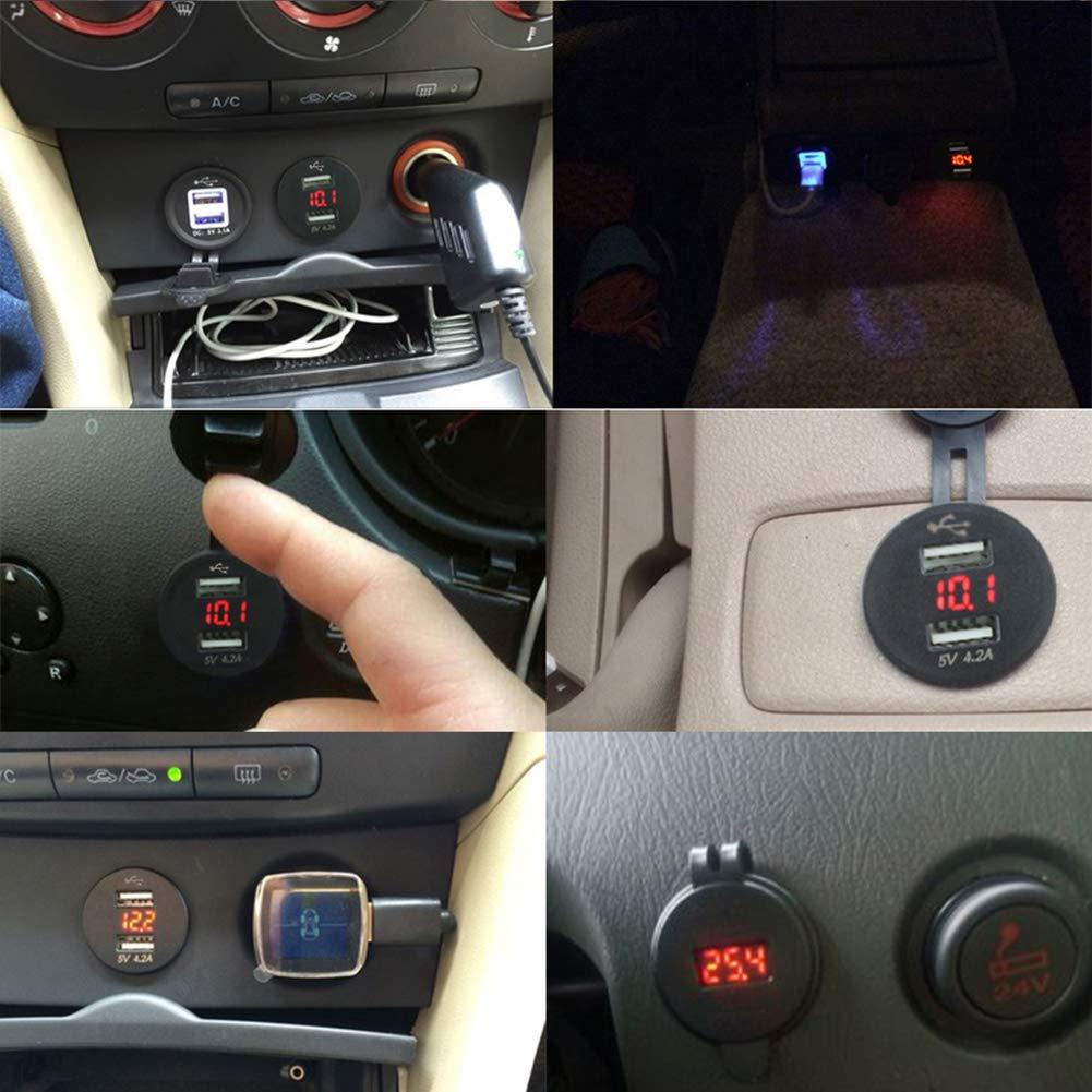 Denret3rgu Chargeur allume-cigare double USB pour moto 12 V Prise num/érique Bleu rouge