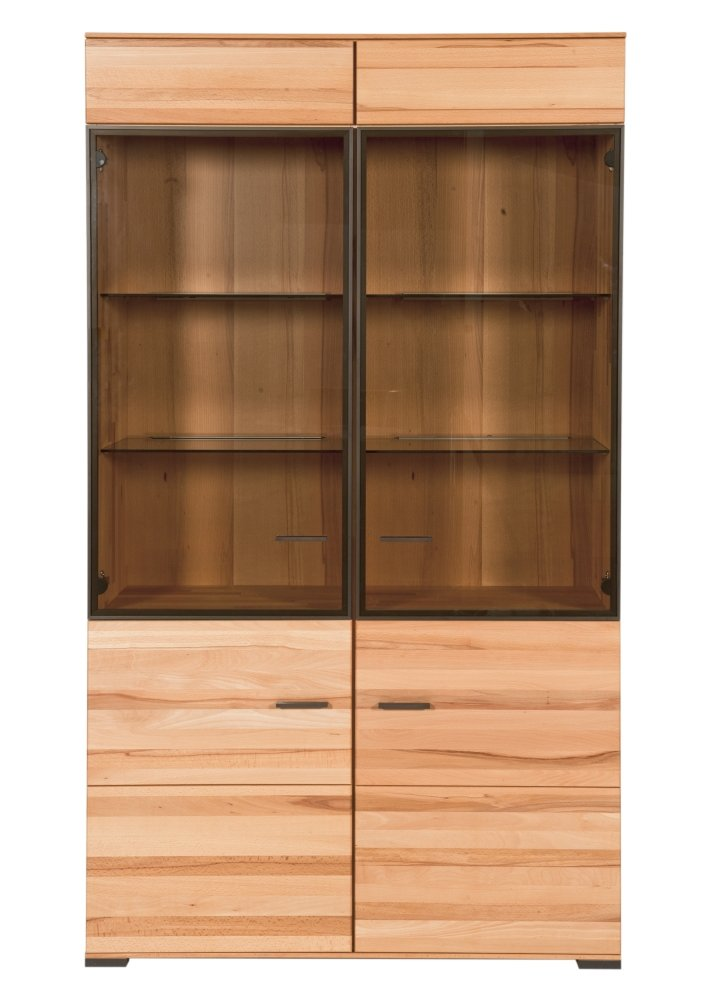 SIT-Möbel 4404-01 Vitrine 2 Glastüren2 Holztüren mit Dämpfung, 111 x 40 x 199 cm