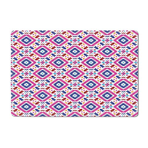 Glock Tabletop Stand - Tribal Welcome mat Hand Drawn Style Seamless Pattern with Ethnic Mayan Stripes Art Image Floor mat Fuchsia Indigo Burgundy 20