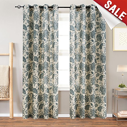 jinchan Floral Scroll Printed Linen Curtains Grommet Top - Ikat Flax Textured Medallion Design Jacobean Floral Printed Curtains Retro Living Room 63 Inch Long Window Covering (Teal, 2 Panels)