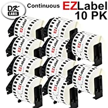 EZlabel Brother DK2205 Compatible Continuous White Wide Tape 2.4 Inch X 100 Foot (62mm X 30.4m) label Roll for Brother label printer QL-700 QL-500 QL 550 QL 570 QL 1050 QL 1060 with black color Cartridge Holder 10 Rolls